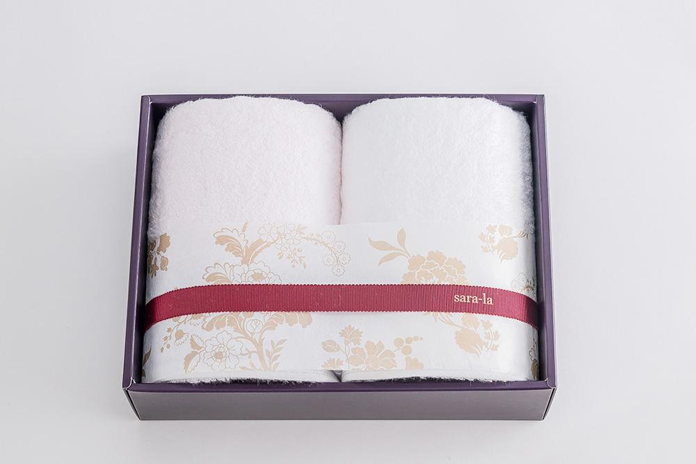 やわらかい高級今治タオルsara-la「彩・irodori」フェイスタオル×2のギフト写真(ピンク)