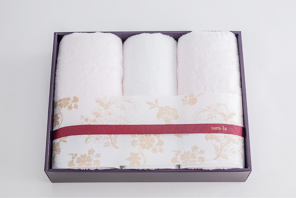 やわらかい高級今治タオルsara-la「彩・irodori」フェイスタオル×3のギフト写真(ピンク)