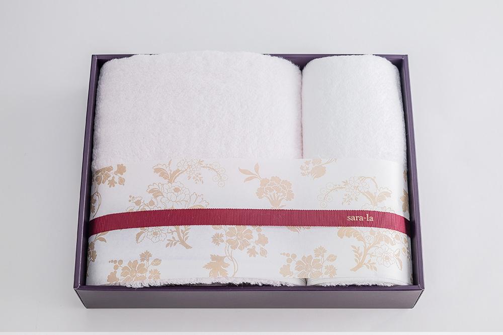 やわらかい高級今治タオルsara-la「彩・irodori」バスタオル1×フェイスタオル1のピンクセット写真