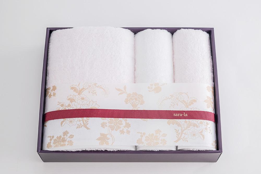 やわらかい高級今治タオルsara-la「彩・irodori」バスタオル1×フェイスタオル2のピンクセット写真