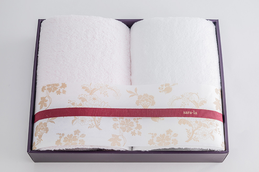 やわらかい高級今治タオルsara-la「彩・irodori」バスタオル2セットピンクのギフト写真